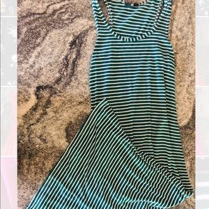 H&M green with white lines maxi dress